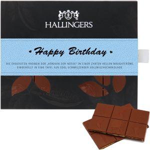 Vollmilch-Schokolade mit Macadamia-Nougat hand-geschöpft (90g) - Happy Birthday Boy (Tafel-Karton)