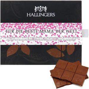Vollmilch-Schokolade mit Marc de Champagne hand-geschöpft (90g) - Für die beste Mama der Welt (Tafel-Karton)