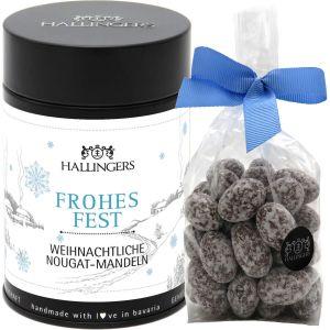 Nougat-schokolierte Mandeln hand-gemacht (150g) - Frohes Fest (Premiumdose)
