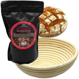 Natürliche Brotbackmischung Gärkorb-Set (1.000g) - Set Bauernbrotmix, Backmix und Gärkorb (Aromabeutel)