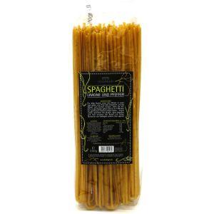 Pasta aus Hartweizengries, natürlich eingefärbt (250g) - Spaghetti - Ztirone / Pfeffer (Aromabeutel)