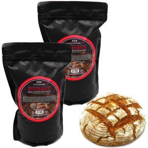 Natürliche Brotbackmischung - 2er Sparpack (2.000g) - 2x Bauernbrot - Dinkel & Roggen Brotbackmix (Aromabeutel)