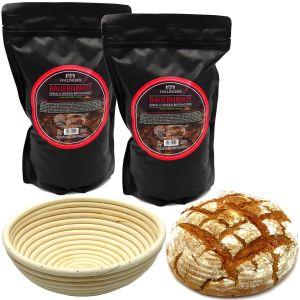 Natürliche Brotbackmischung Gärkorb-Set - 2er Sparpack (2.000g) - Set 2x Bauernbrotmix, Backmix und 1x Gärkorb (Aromabeutel)