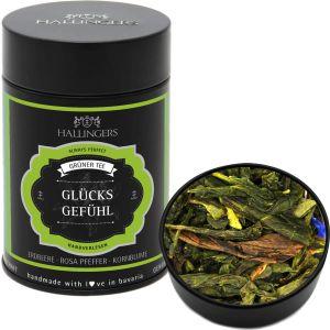 Grüner Tee / Grüntee - Glücksgefühl - loser Tee, ideal als Geschenk | Premiumdose | 80g