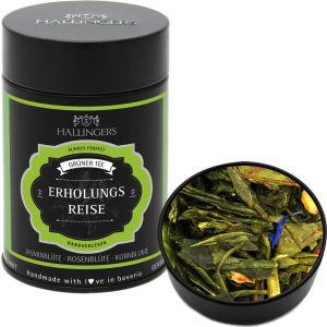 Loser Grün-Tee mit Jasmin, Rosenblüte & Kornblume (100g) - Erholungsreise (Premiumdose)