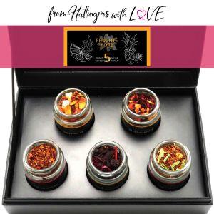 5er Tee-Geschenk-Set Früchtetee & Roiboos-Tee (55g) - Früchte Korb (MiniDeluxe-Box)