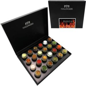 Adventskalender Grillkalender BBQ Deluxe 24 Männersache ADVENT, Black | Set/Mix | 24x Miniglas in Deluxe-Box | 385g