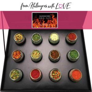 12er BBQ-Geschenk-Set mit Gewürzen aus aller Welt (220g) - Klassisches BBQ-Set (Design-Karton)