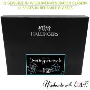 12er Gewürz-Geschenk-Set mit Gewürzen aus aller Welt (220g) - Mein Lieblingsmensch (Design-Karton)