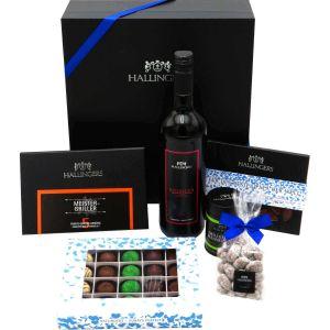 Vatertag Geschenk Set - Schokolade, Pralinen, Wein, Gewürze und Nougatmandeln in premium Box (1.455g) - Vatertag Big Box Blue (Genussbox)