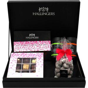 Muttertag Geschenk Set - Schokolade, Pralinen, Gewürze und Nougatmandeln in premium Box (483g) - Muttertag Box Pink (Design-Karton)