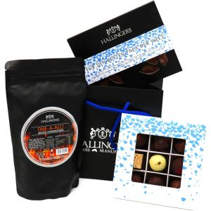 Vatertag Geschenk Set - 1 Schokolade, 9er Pralinen und 1 Gewürze Rub (426g) - Vatertag Bag Blue (Genusstasche)