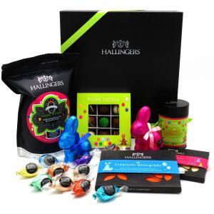 Oster-Geschenk-Set Schokolade, Kaffee, Ostereier und  Osterhasen für Ostern in edler Box (1.238g) - Easter Big Box Green (Genussbox)