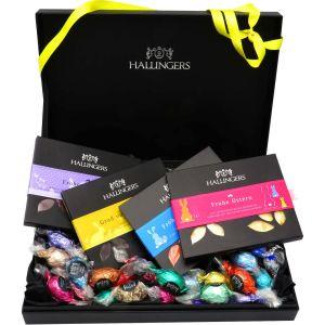 Oster-Geschenk-Set 4 Schokolade, 60 Trüffel / Ostereier für Ostern in edler Box (1.320g) - Easter Box Yellow (Deluxe-Box)