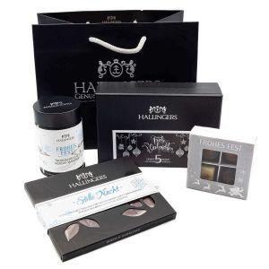 Geschenk-Set mit Tafel, Schokolade, Pralinen, Mandeln, Gewürz, Essig & Öl (360g) - Groß No. 01 (Große Genusstasche)