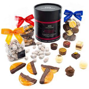 Weihnachts-Geschenk-Set Pralinen-Mandeln-Orangen (450g) - Weihnachts-Naschmix (Naschdose)